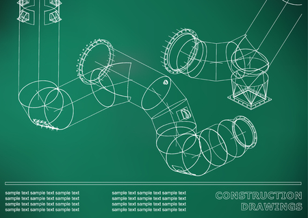 Drawings of steel structures. Pipes and pipe. 3d blueprint of structures. Cover, background for your design. Light green background Ilustração