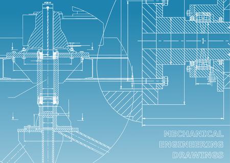 Ingénierie mécanique. Illustration technique. Antécédents de sujets d'ingénierie. Conception technique. Fabrication d'instruments. Couverture, bannière, flyer. Bleu et blanc