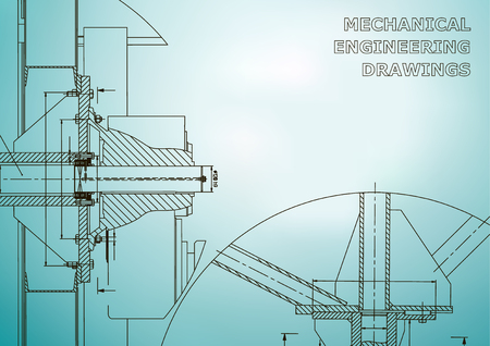 Mechanical engineering. Technical illustration. Light blue