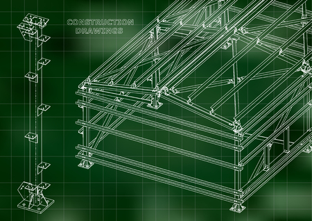 Building. Metal constructions. Volumetric constructions. 3D design. Abstract Cover, banner. Green. Grid