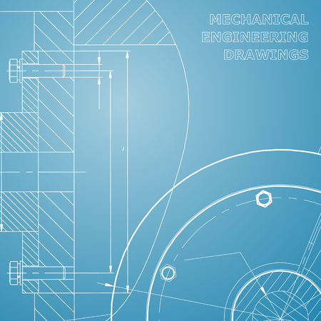 Backgrounds of engineering subjects. Technical illustration. Mechanical engineering. Technical design. Instrument making. Cover, banner, flyer, background. Corporate Identity. Blue and white