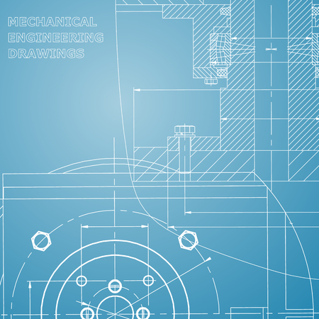 Mechanics. Technical design. Engineering style. Mechanical instrument making. Corporate Identity. Blue and white