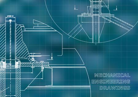 Mechanical engineering. Technical illustration. Blue background. Grid