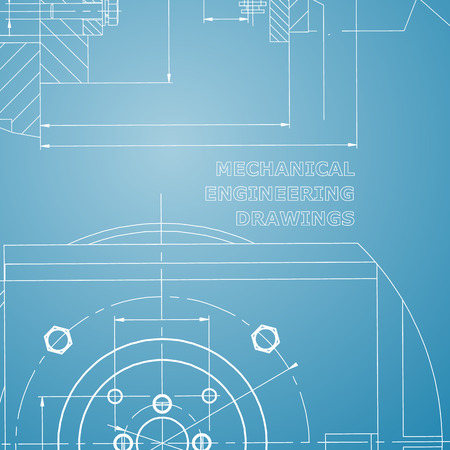 Mechanics. Technical design. Engineering style. Mechanical. Blue