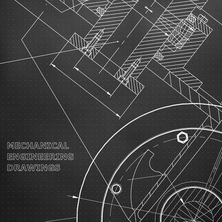 Black background. Grid. Backgrounds of engineering subjects. Technical illustration. Mechanical engineering. Technical design. Instrument making