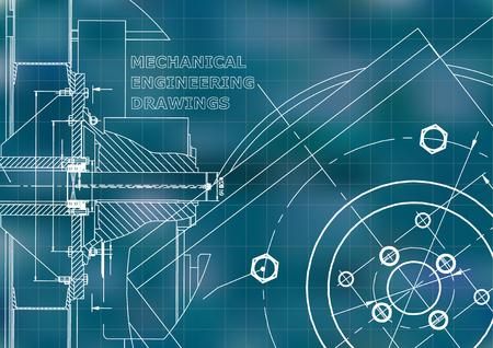 Illustrazione tecnica. Industria meccanica. Sfondo. Sfondo blu. Griglia Vettoriali