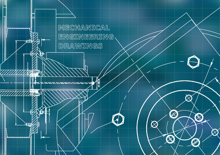 Technical illustration. Mechanical engineering. Background. Blue background. Grid