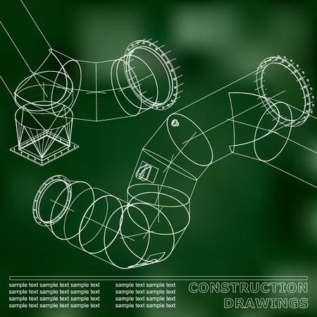 Grüner Hintergrund. Zeichnungen von Stahlkonstruktionen. Rohre und Rohr. 3D-Plan von Stahlkonstruktionen. Hintergrund für Ihr Design Vektorgrafik