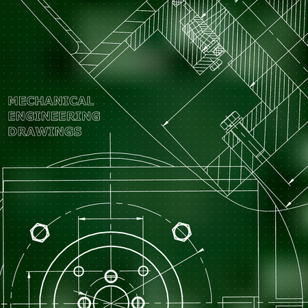 Mechanics. Technical design. Cover, flyer, banner. Corporate Identity. Green background. Points