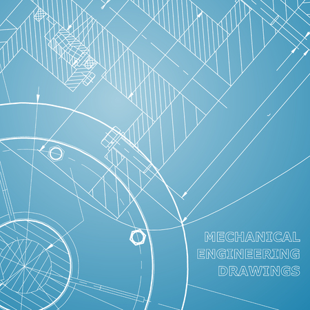 Backgrounds of engineering subjects. Technical illustration. Mechanical. Blue and white