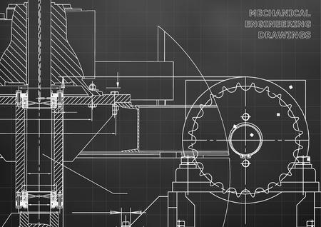 Engineering illustrations. Blueprints. Mechanical drawings. Technical Design. Banner. Black background. Grid Vetores