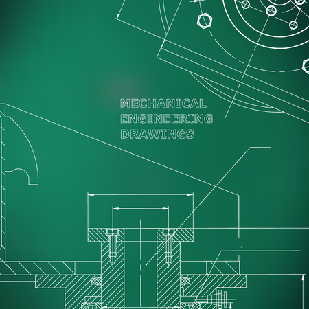 Mechanics. Technical design. Engineering style. Mechanical instrument making. Cover. Light green background