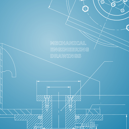 Mechanics. Technical design. Engineering style. Mechanical instrument making. Cover. Blue and white
