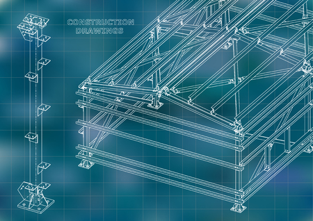 Building. Metal constructions. Volumetric constructions. 3D design. Abstract Cover, banner. Blue. Grid Illustration