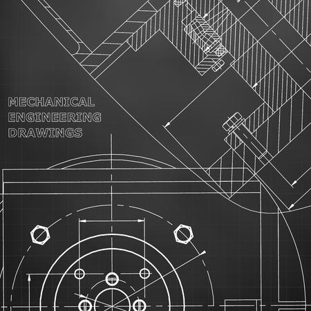 Mechanics. Technical design. Cover, flyer, banner. Corporate Identity. Black background. Grid 일러스트