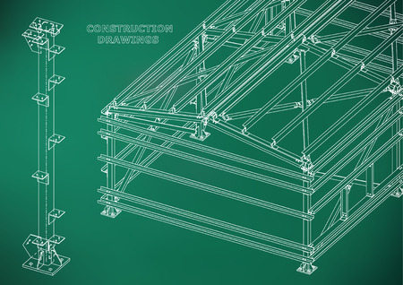 Building. Metal constructions. Volumetric constructions. 3D design. Abstract Cover, banner. Light green Illustration