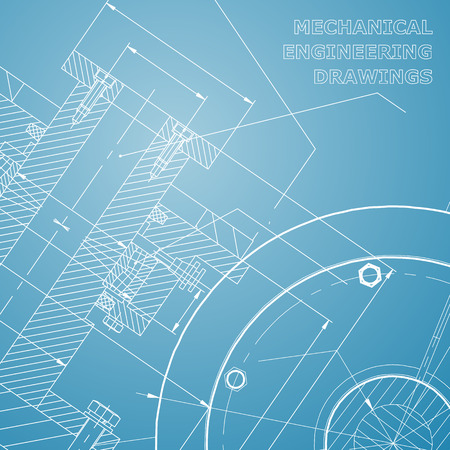 Backgrounds of engineering subjects. Technical illustration. Mechanical engineering. Technical design. Instrument making. Cover, banner. Blue and white Illustration