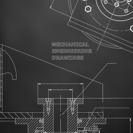 Mechanics. Technical design. Engineering style. Mechanical instrument making. Cover. Black background. Grid