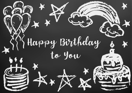 Happy Birthday to You. Greeting card, flyer, banner. Drawing chalk on a black board. Cake, candles, stars, air balls, rainbow Stock Illustratie
