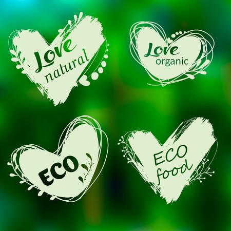 Doodle logos. I love organic. Vector illustration for menu of restaurants, packaging, advertising. Set of logos, icons, design elements. Natural food, organic