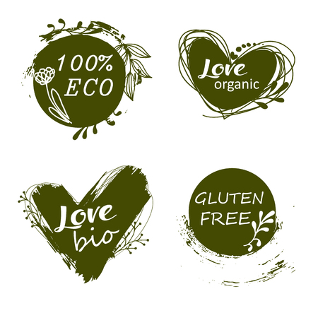 Vector illustration for menu of restaurants, packaging, advertising. Set of logos, icons, design elements. Natural food