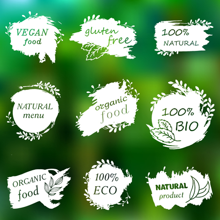 I love organic. Vector illustration for menu of restaurants, packaging, advertising. Set of logos, icons, design elements. Doodle logos. Natural food, organic food, veggie food. Healthy food label. Hand drawing. Bio