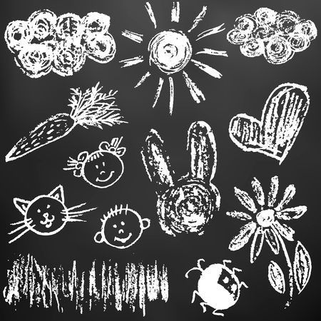Child drawing with white chalk on a black board. Child drawing with chalk on a black board. Clouds, sun, hare, carrot, girl, boy, cat, flower, heart, grass ladybug