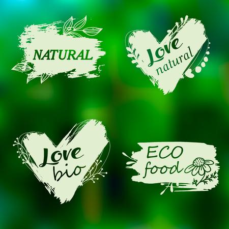 Doodle logos. I love organic. Vector illustration for menu of restaurants, packaging, advertising. Set of logos, icons, design elements. Natural food, organic food, veggie food. Healthy food