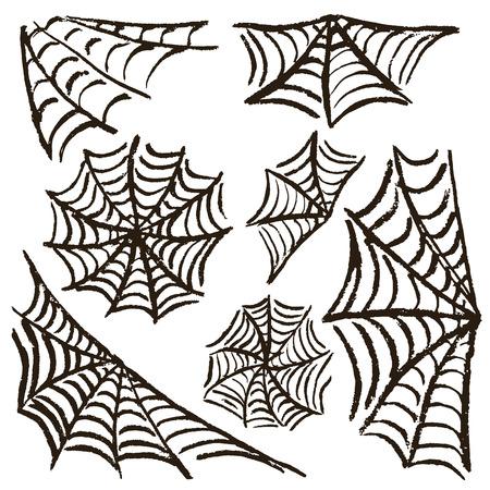 Halloween. Définissez des toiles d'araignées. Illustration vectorielle. Collection d'éléments festifs. Vacances d'automne