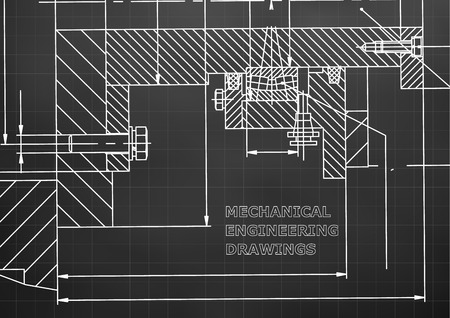 Mechanical engineering. Technical illustration. Backgrounds of engineering subjects. Technical design. Black background. Grid