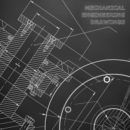Black background. Technical illustration. Mechanical engineering. Technical design. Instrument making. Cover, banner