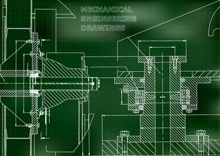 Technical illustration. Mechanical engineering. Backgrounds of engineering subjects. Technical design. Instrument making. Cover, banner. Green background. Points