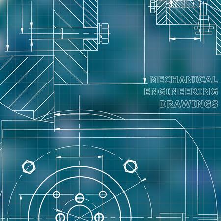Mechanics. Technical design. Corporate Identity. Blue background. Grid Illustration