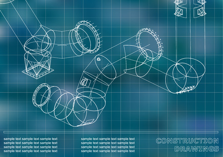 Drawings of steel structures. Pipes and pipe. 3d blueprint of steel structures. Cover, background for your design. Blue background. Grid