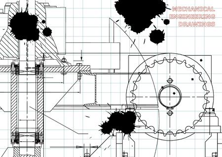 Engineering illustrations. Blueprints. Mechanical drawings. Technical Design. Banner. Draft. Black Ink. Blots