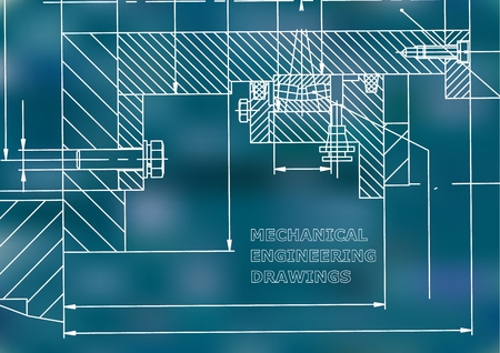 Mechanical engineering. Technical illustration. Backgrounds of engineering subjects. Technical design. Blue background 矢量图像