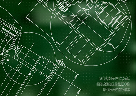 Mechanical Engineering drawing. Blueprints. Mechanics. Cover. Engineering design, instrumentation. Green background. Points