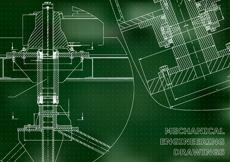 Mechanical engineering. Technical illustration. Backgrounds of engineering subjects. Technical design. Instrument making. Cover, banner, flyer, Green background. Points. Corporate Identity Illustration