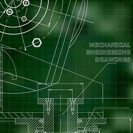 Mechanics. Technical design. Green background. Grid