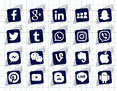 Drawing on the notebook sheet. Collection of popular social media icons on a white background Facebook, Instagram, Linkedin, Pinterest, Twitter, Line. Square doodle icons Ilustração