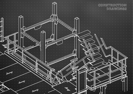 Building. Metal constructions. Volumetric constructions. Black background. Points