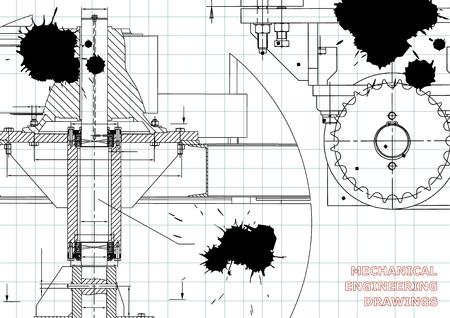 Blueprints. Mechanical engineering drawings. Cover. Banner. Technical Design. Draft. Black Ink. Blots