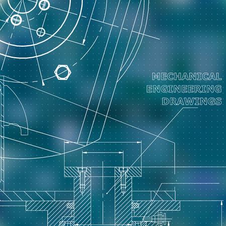 Mechanics. Technical design. Blue background. Points