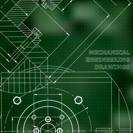 Mechanics. Technical design. Engineering. Mechanical Corporate Identity. Green background. Points