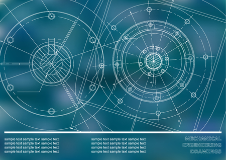 Vector Mechanical engineering drawings on a Blue background. Background for inscription