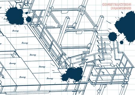 Building. Metal constructions. Volumetric constructions. 3D. Draft. Ink. Blots