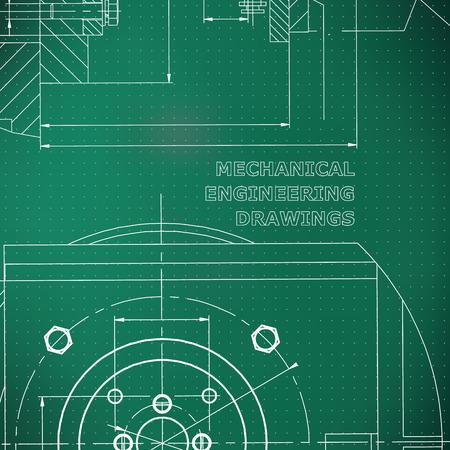 Meccanica. Disegno tecnico. Stile ingegneristico. Meccanico. Identità aziendale. Sfondo verde chiaro. Punti Vettoriali