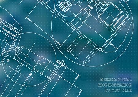 Mechanical Engineering drawing. Blueprints. Mechanics. Cover. Engineering design, instrumentation. Blue background. Points