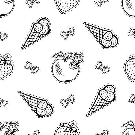 Kids, Cartoon seamless pattern. Textiles, cartoon background. Ice cream, orange, apple with caterpillar, bows Illustration