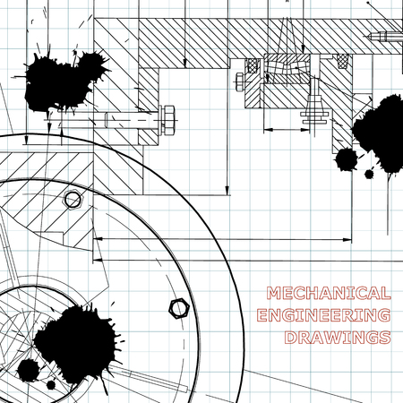 Backgrounds of engineering subjects. Technical illustration. Draft. Black Ink. Blots